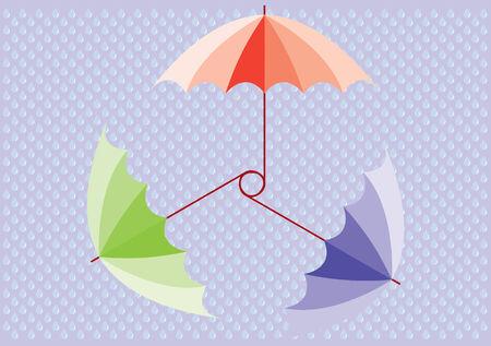sheltering: Three colored umbrellas over drops