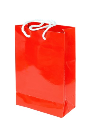 carryall: Red paper bag isolated on white background