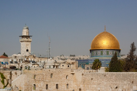 The wailing wall and mousque of Al-aqsa (Dome of the Rock) Stock Photo