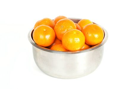 carryall: Bowl with mandarin isolated on white background