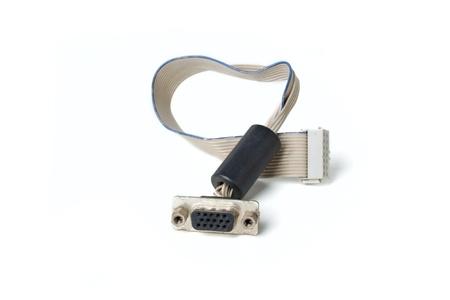 vga: Cable VGA con conectores aisladas sobre fondo blanco