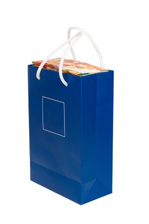 sheqel: Sheqel in a blue bag isolated on white background Stock Photo