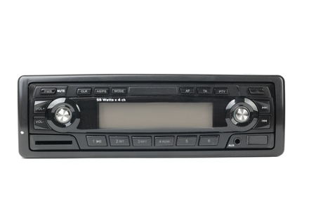 stereo: Car radio with mp3 isolated on white background