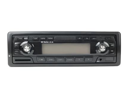 equipo de sonido: Radio de coche con mp3 aisladas sobre fondo blanco Foto de archivo