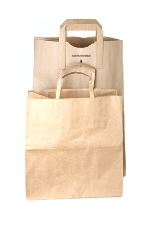 Paper shopping bags isolated on white background photo