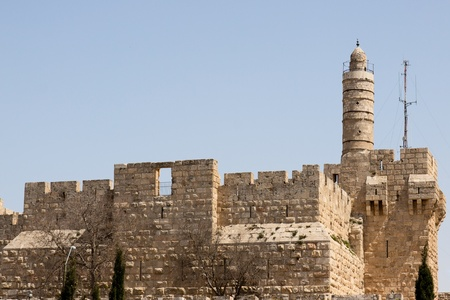 Tower of david, at the old city walls of Jerusalem photo