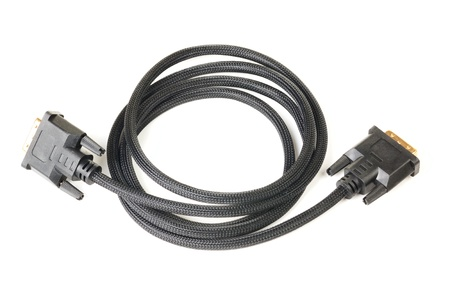 Black DVI cable isolated on white background photo