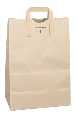 Paper shopping bag isolated on white background photo
