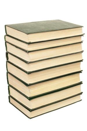 Books stack isolated on white background photo