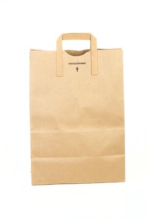 white paper bag: Bolsa de papel compras aisladas sobre fondo blanco Foto de archivo