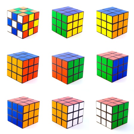 brain teaser: cubes isolated on white backgrounds Editorial