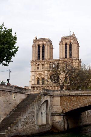 episcopal: Notre-Dame de Paris view from Seine Stock Photo