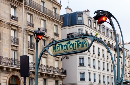 Ancient subway sign in Paris, France