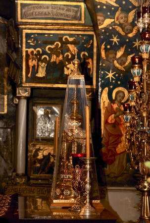 Golgotha, altar in Temple of the Holy Sepulchre, Jerusalem, Israel photo