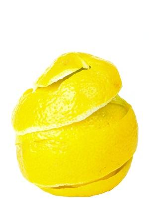 Rind of single lemon isolated on white background