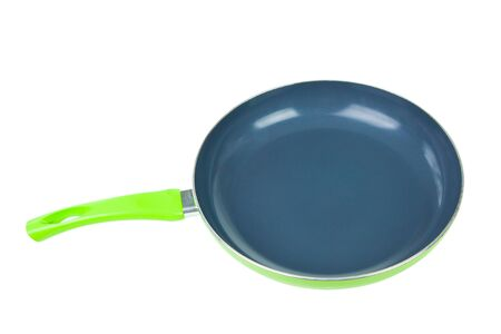 Single green pan isolated on white background Stock Photo - 13724122