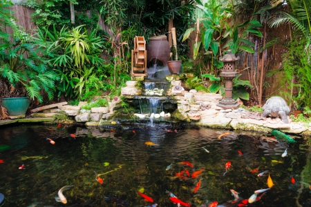 Decorative pond with fountain and gold fish Stock Photo