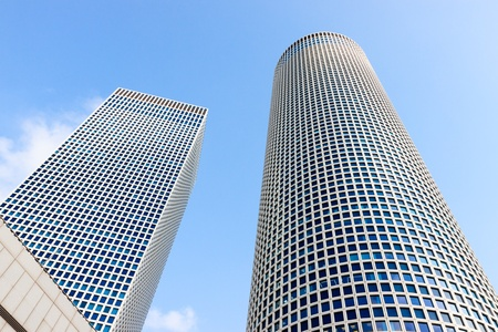 Two buildings of Azrieli Center, Tel-Aviv, Israel