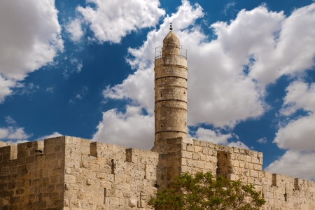 turrets: Tower of david, at the old city walls of Jerusalem Stock Photo