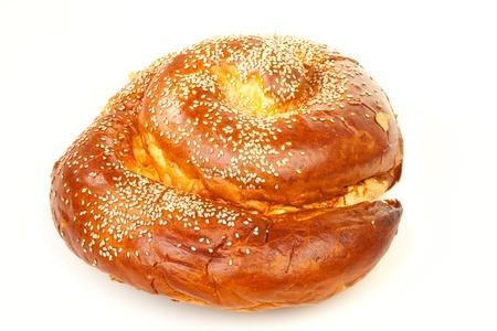 Sweet round sabbath challah isolated on white background photo