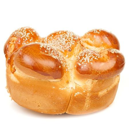 Round sabbath challah isolated on white background photo