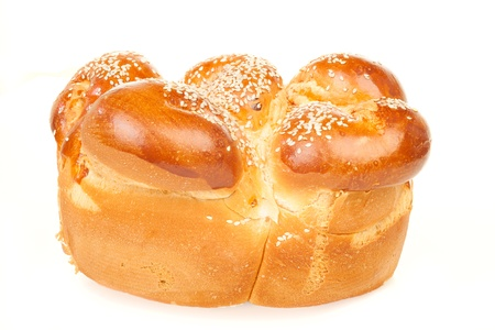 One round sabbath challah isolated on white background Stock Photo - 15560366