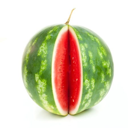 notched: Notched striped watermelon isolated on white background Stock Photo