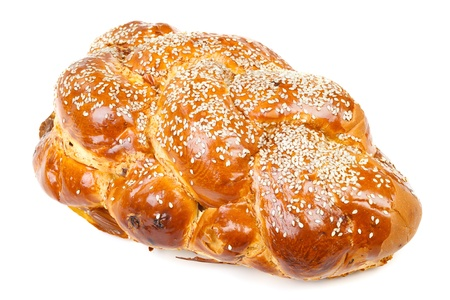 sabbath: The single sabbath challah isolated on white background