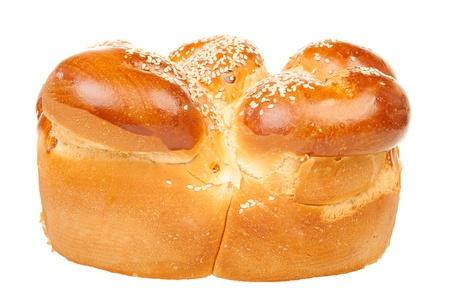 Single round sabbath challah isolated on white background photo
