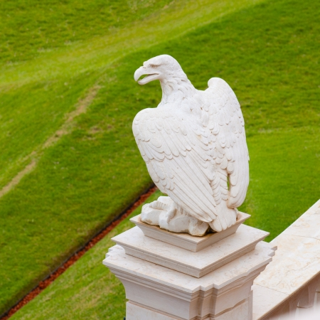 bahaullah: Statue of marble eagle in Bahai temple, Haifa, Israel Stock Photo