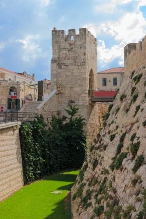 Moat near a tower of david, at the old city walls of Jerusalem, Israel photo