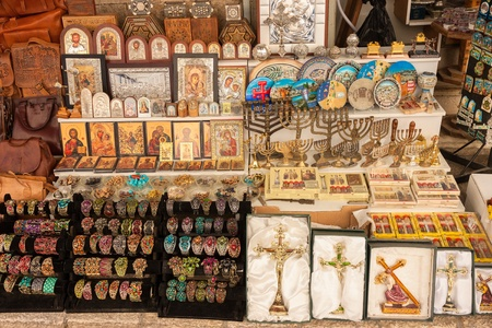 The souvenirs on a market in the old city Jerusalem photo