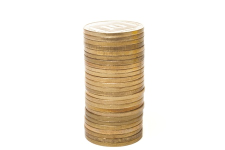 sheqalim: Tall column of israeli coins isolated on white background Stock Photo