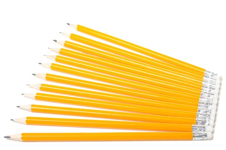 Group of pencils isolated on white background photo