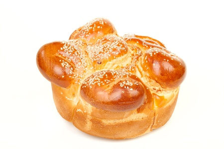 sabbath: Sabbath challah with many white seed isolated on white background