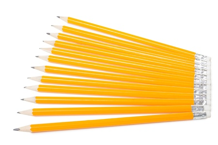 Group of yellow pencils isolated on white background photo
