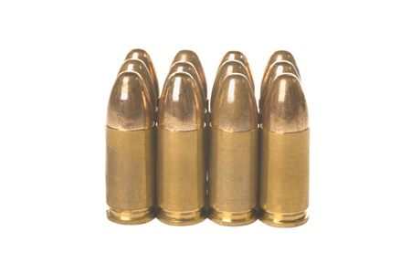 Twelve 9mm bullets isolated on white background Stock Photo - 16949689