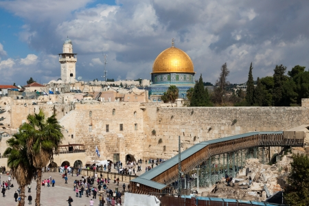 Mousque of Al-aqsa  Dome of the Rock  and Wailing wall in Jerusalem, Israel