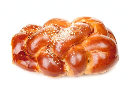 jewish cuisine: Braided challah isolated on white background