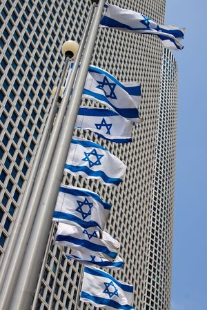 Azrieli Center Tel-Aviv with flags photo