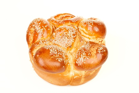 sabbath: The single round sabbath challah with seed isolated on white background