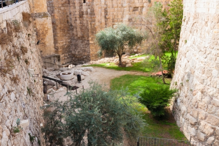 Ancient moat near a tower of david, at the old city walls of Jerusalem photo