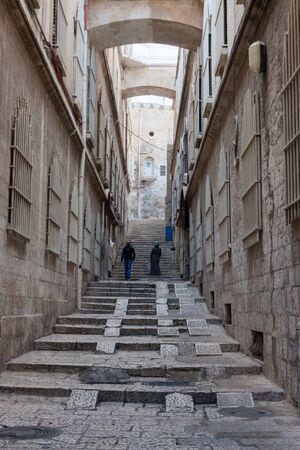 Narrow street in the Arab quarter of Jerusalem city, Israel