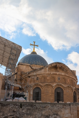 church of the holy sepulchre: Ancient church of the Holy Sepulchre in Jerusalem, Israel Stock Photo