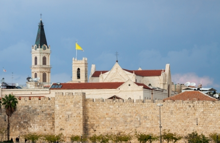 Walls and church of Jerusalem city, Israel photo