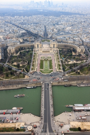 trocadero: Panorama of Paris, the Trocadero and La Defense from the top platform of the Eiffel Tower, Paris, France
