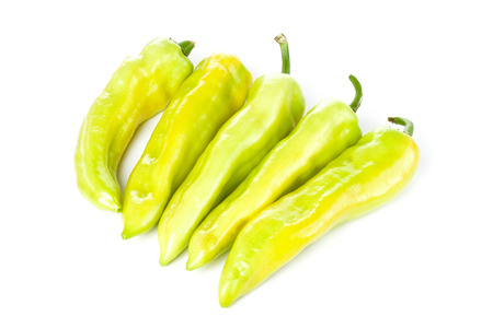 Peppers group isolated over white  photo