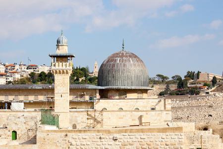 The dome of mousque of Al-aqsa and minaret photo