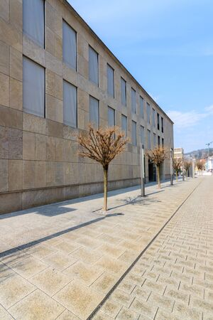 An empty street with a wall of a building and trees photo