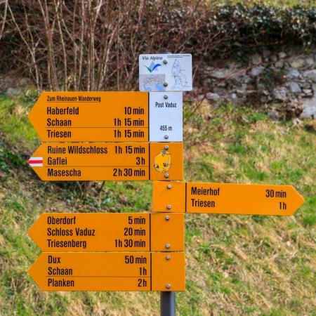 Signpost on the main pedestrian street in Vaduz, capital of Liechtenstein